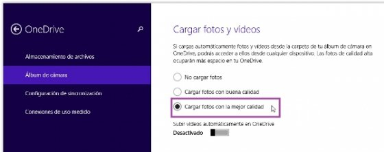 Configuración OneDrive Fotos de Windows 8.1