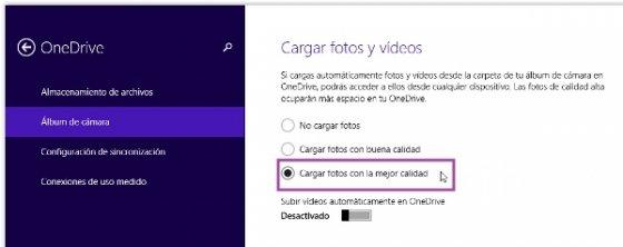 Configuración OneDrive Fotos de Windows 8.1