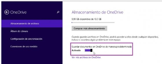 Configuración OneDrive de Windows 8.1