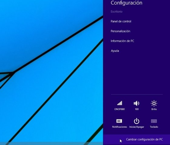 Menú configuración de Windows 8.1