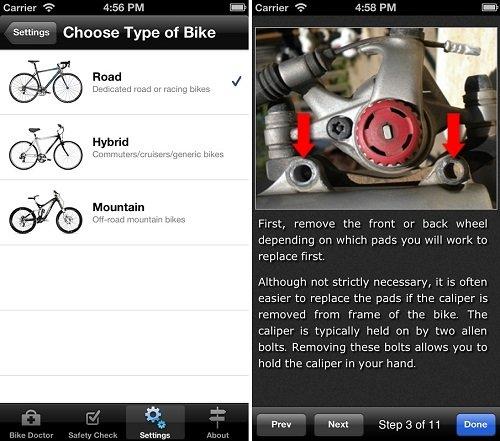 Interfaz de Bike Doctor