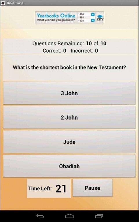 Juegos de tipo Trivial - La Biblia