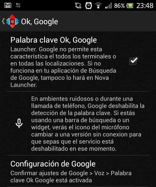 Activación de OK Google en Nova Launcher