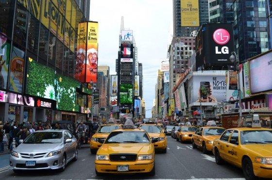 Taxis en Nueva York que no se manifiestan contra Uber