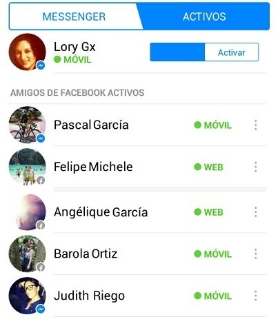 Captura de pantalla de Facebook Messenger