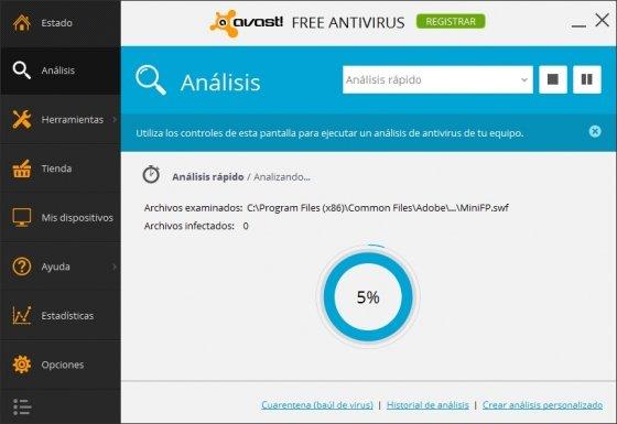 Avast Free en pleno análisis