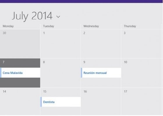 Calendario Windows 8.1