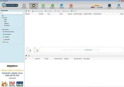 Interfaz de eMule 0.60 con banner publicitario