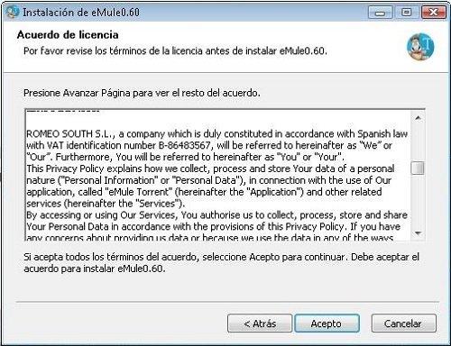 Acuerdo de Licencia de eMule 0.60