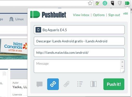 Compartir desde la extensión de Chrome