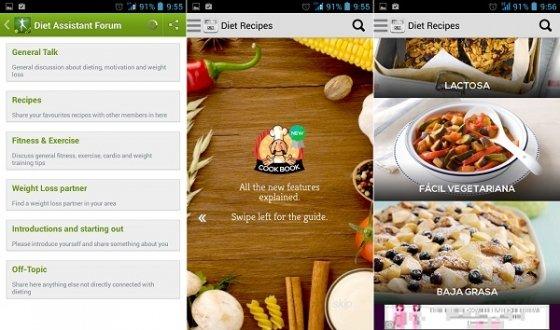 Interfaz de Dieta Asistente y Recetas de Plan de dieta libre