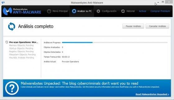 Interfaz de Malwarebytes Anti-Malware