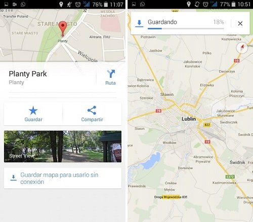 Descarga de mapas de Google Maps