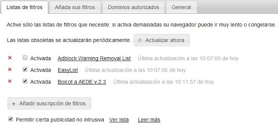Ya tenemos el filtro Boicot a AEDE activado