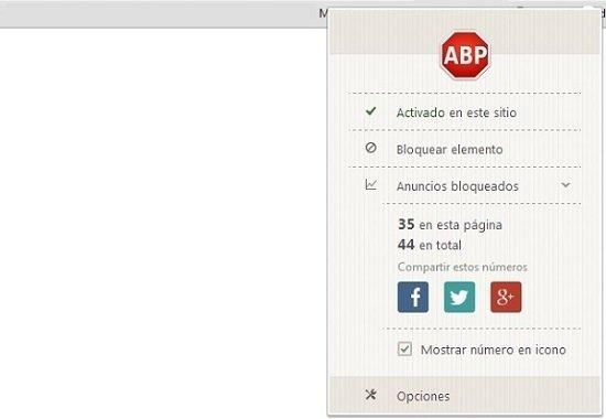 Acceder a opciones de Adblock Plus