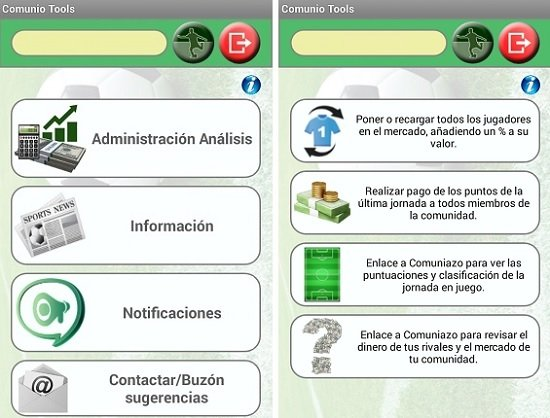 Interfaz de Comunio Tools
