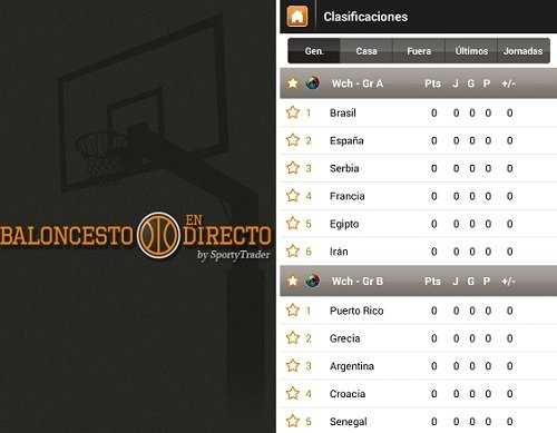 Interfaz de Live Basketball Scores