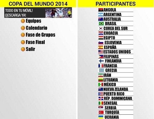 Interfaz de Mundial Baloncesto España 2014