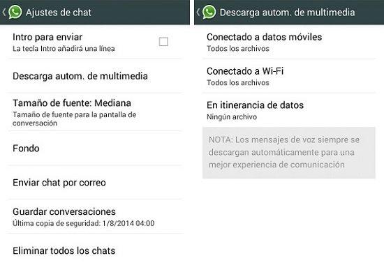 Acceso a los ajustes de chat de WhatsApp