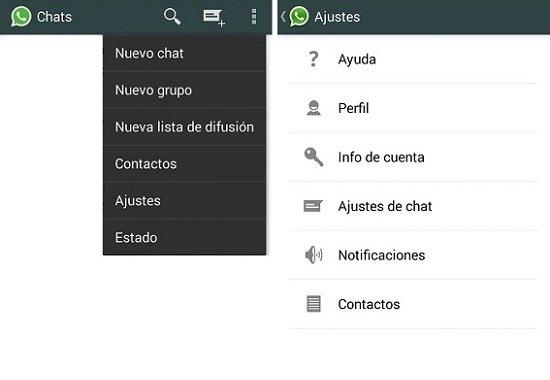 Acceso a los ajustes de WhatsApp