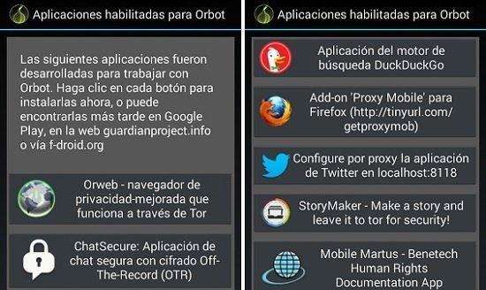 Aplicaciones preparadas para trabajar con Orbot