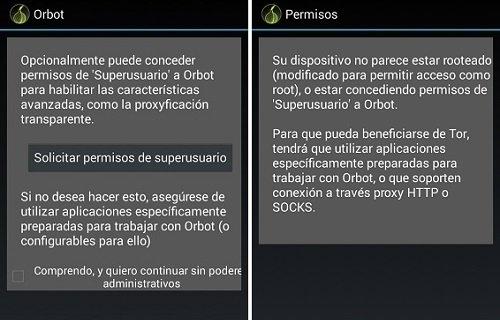 Conceder permisos de superusuario a Orbot