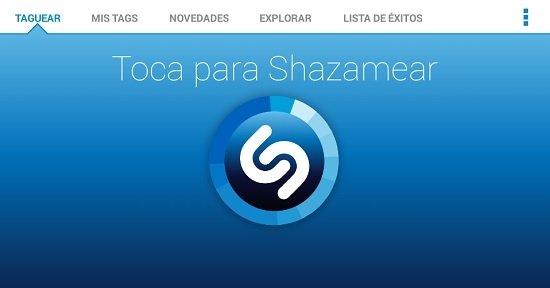 Interfaz de Shazam
