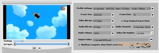 Acala AVI DivX MPEG XviD VOB to PSP image 3 Thumbnail