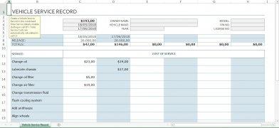 Registro de serviço do veículo Excel imagem 1 Thumbnail