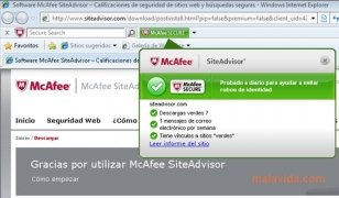 McAfee Site Advisor Internet Explorer Изображение 4 Thumbnail