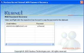 Nucleus Kernel Hotmail MSN Password Recovery imagen 1 Thumbnail