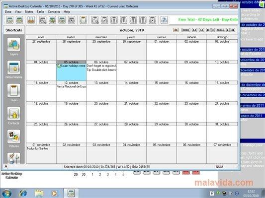 Calendar Organization Software : Download active desktop calendar for pc free