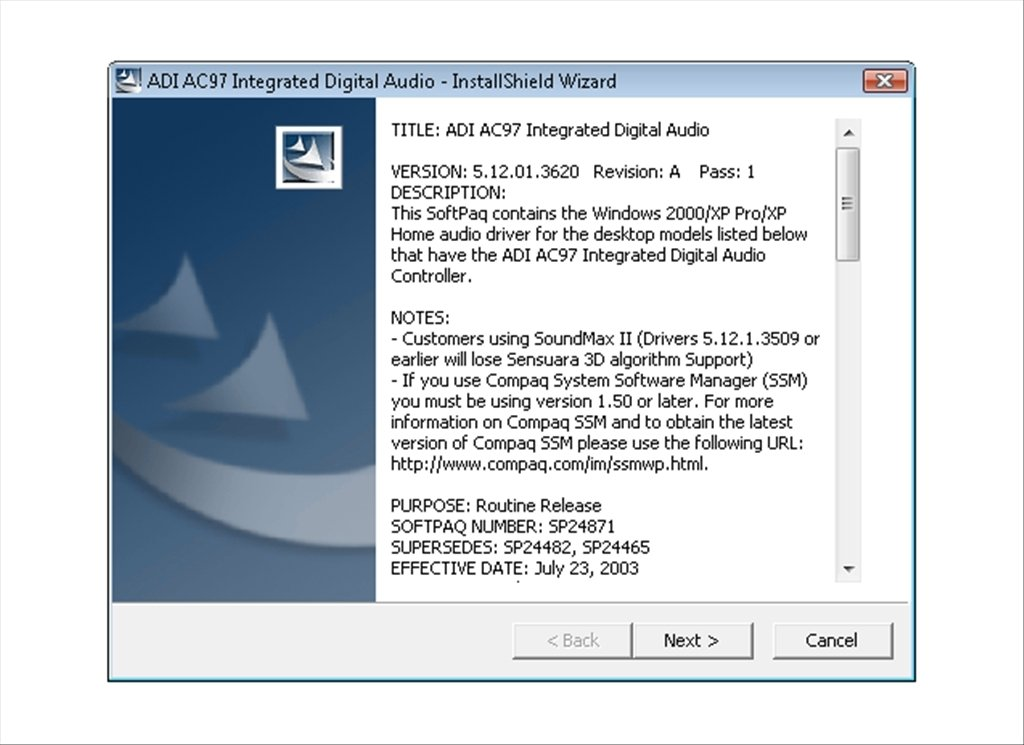 ADI SoundMax AC97 5 12 - Download for PC Free