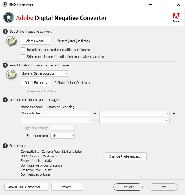 free adobe dng converter