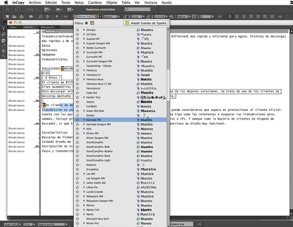 Adobe InCopy for Mac OS X full screenshot