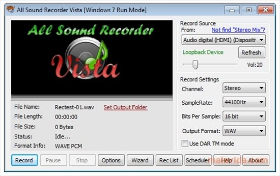 All Sound Recorder Vista 1 30 - Download for PC Free