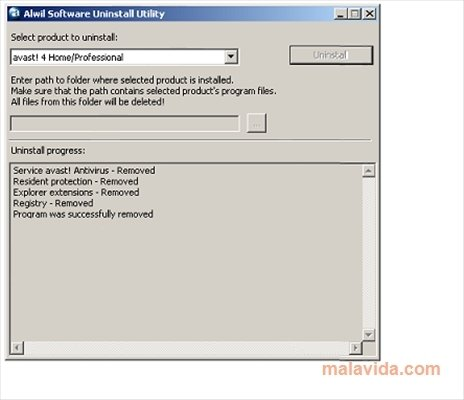 Alwil Software Uninstall Utility image 3