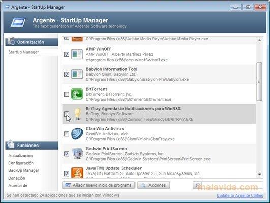 Argente StartUp Manager image 4