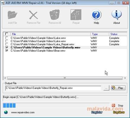 Asf-avi-rm-wmv repair 2. 01 download for pc free.