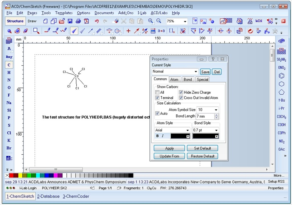 Download chemsketch 2018. 1. 1 build 103226.