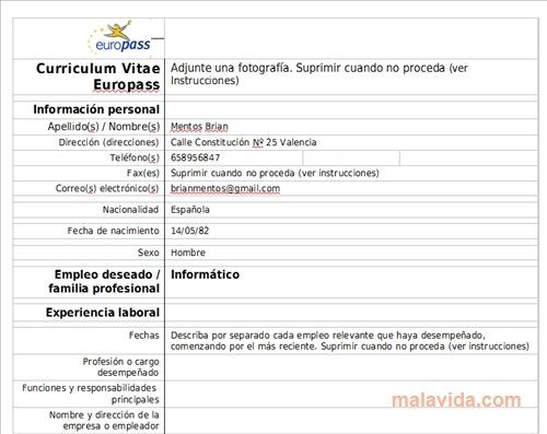 Curriculum Vitae Europeo Europass Download Per Pc Gratis