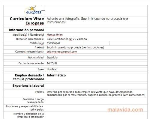 Curriculum Vitae Europass Online  Usa Educational  Www