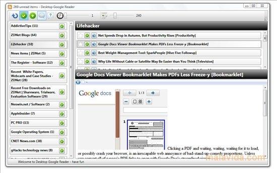 Desktop Google Reader image 4