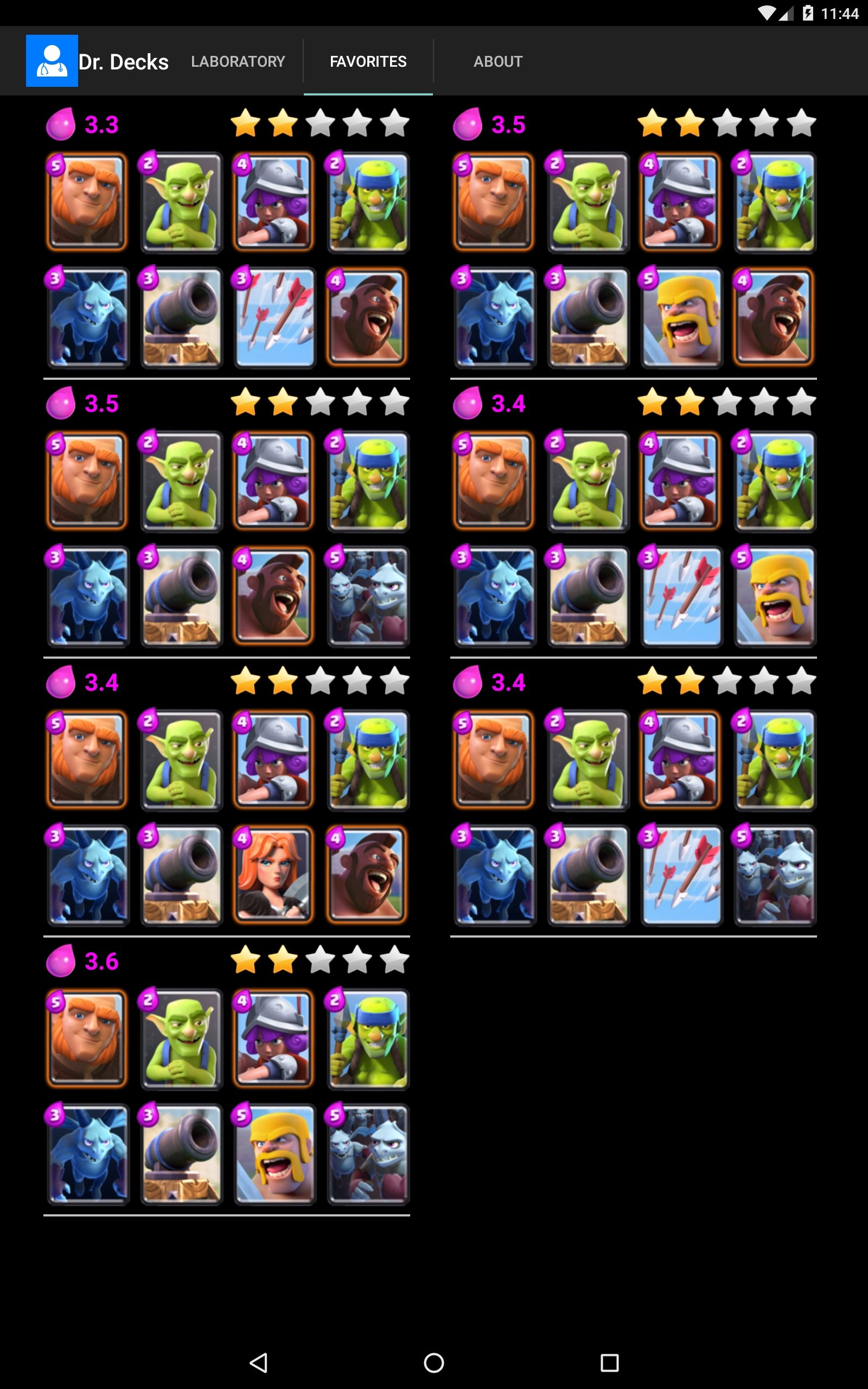 Descargar dr decks 3 8 android gratis for Clash royale deck molosse