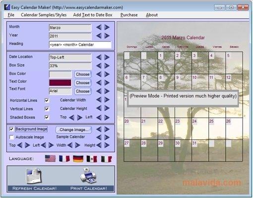 Calendar Graphic Generator : Download easy calendar maker free