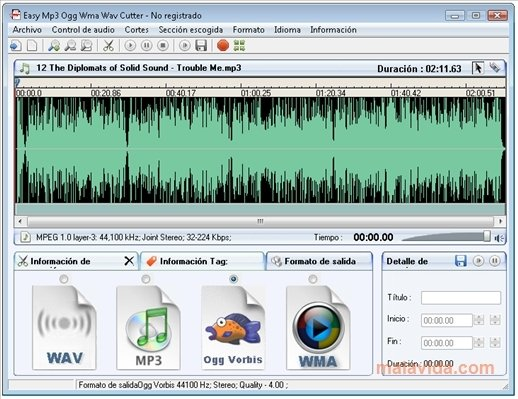 wav a mp3 en linux: