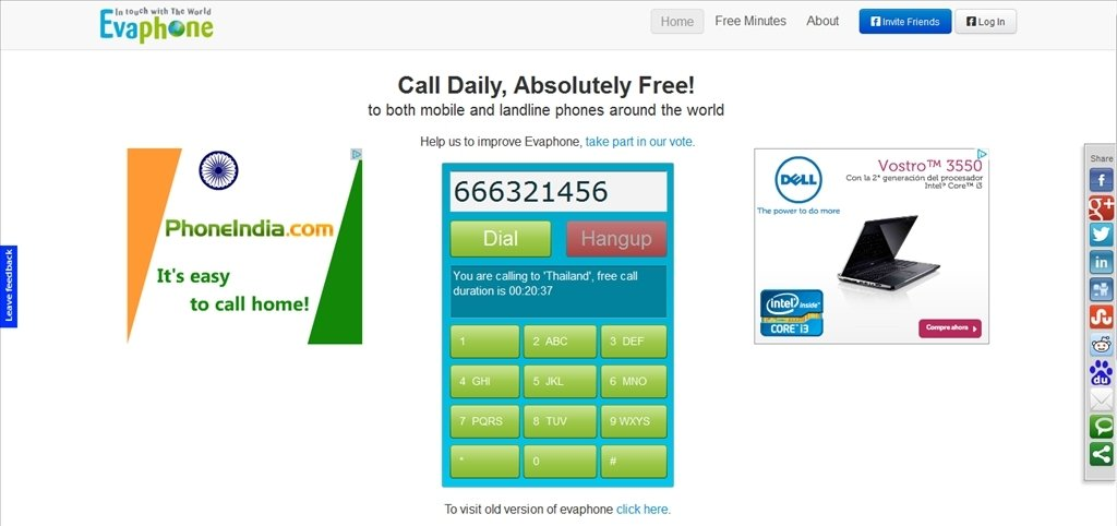 evaphone telephoner gratuitement