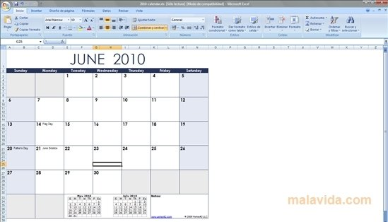 Download Excel Calendar Template   Free