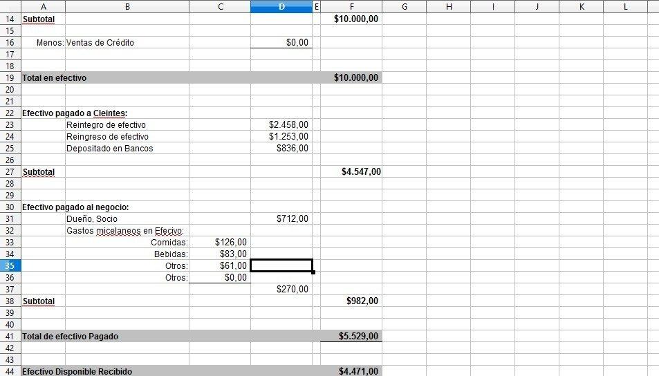 Descargar Excel Cuadre de Caja diario - Gratis en Español