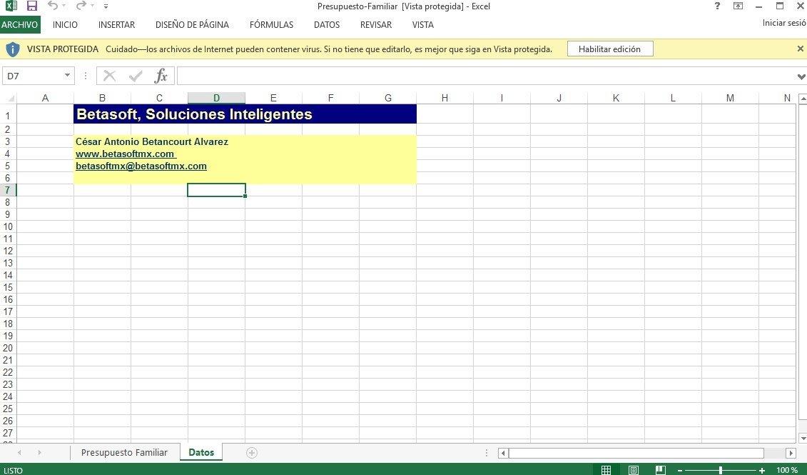 Descargar Excel Presupuesto Familiar - Gratis en Español